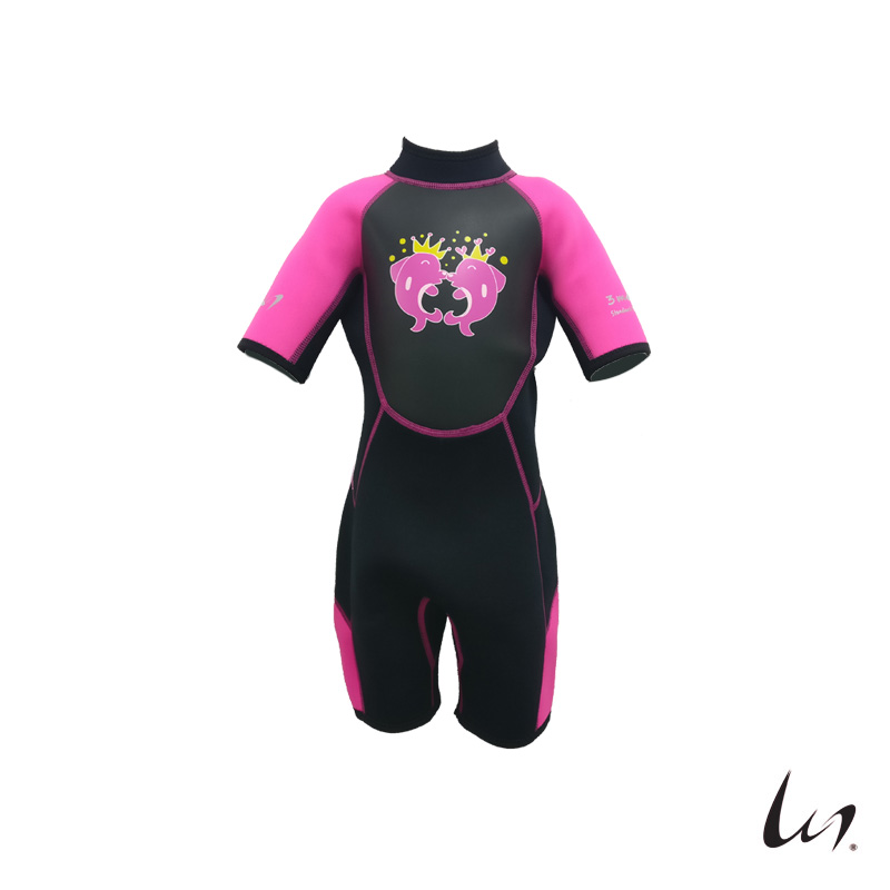 """WGS"" SeaFamily Dolphin Kids' Short Sleeve Wetsuit (3mm Pink)"
