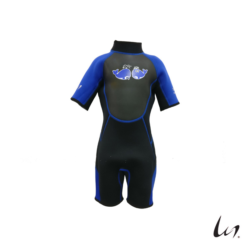 """WGS"" SeaFamily Whale Kids' Short Sleeve Wetsuit (3.5mm Blue)"